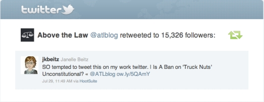 Retweet from Above the Law Blog